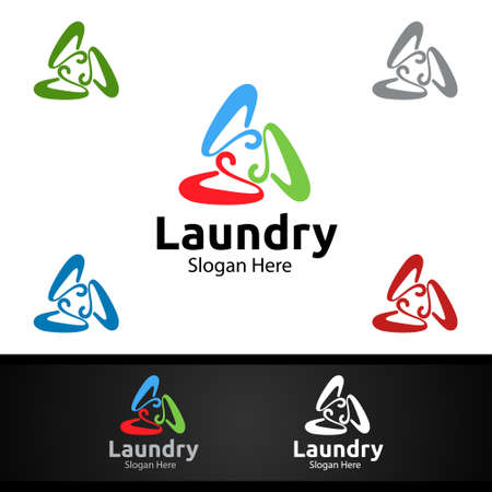 Hangers Laundry Dry Cleaners with Clothes, Water and Washing Concept Design