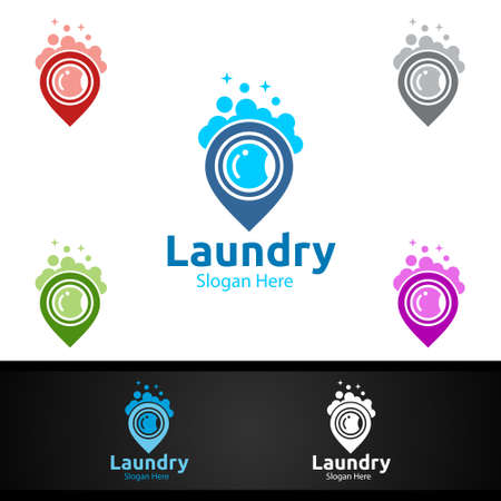 Pin Laundry Dry Cleaners with Clothes, Water and Washing Concept Design