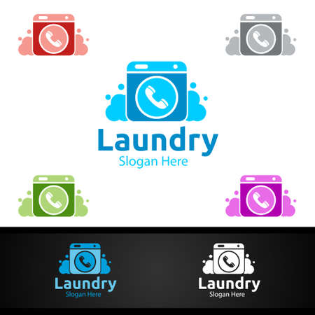 Call Laundry Dry Cleaners with Clothes, Water and Washing Concept Design
