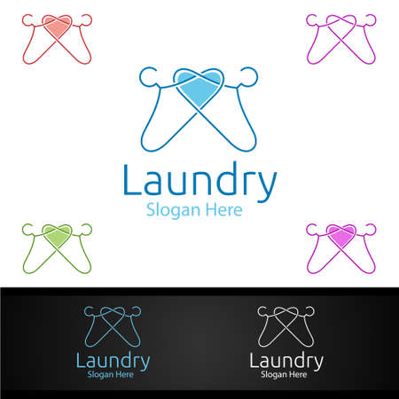 Love Laundry Dry Cleaners with Clothes, Water and Washing Concept Design