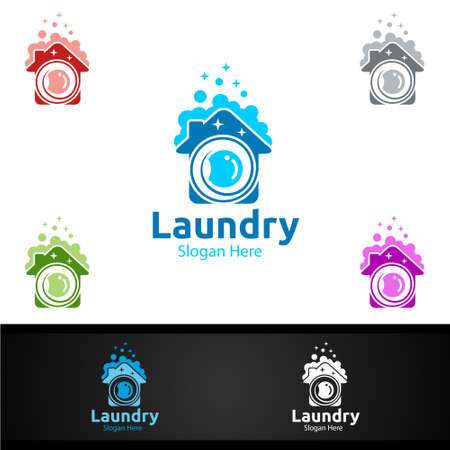 Laundry Dry Cleaners with Clothes, Water and Washing Concept Design
