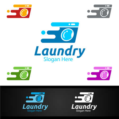 Fast Laundry Dry Cleaners with Clothes, Water and Washing Concept Design