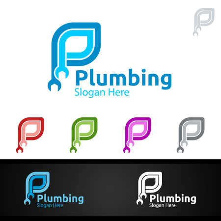 Letter P Plumbing Logo with Water and Fix Home Concept Design