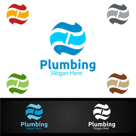 Global Plumbing Logo with Water and Fix Home Concept Design
