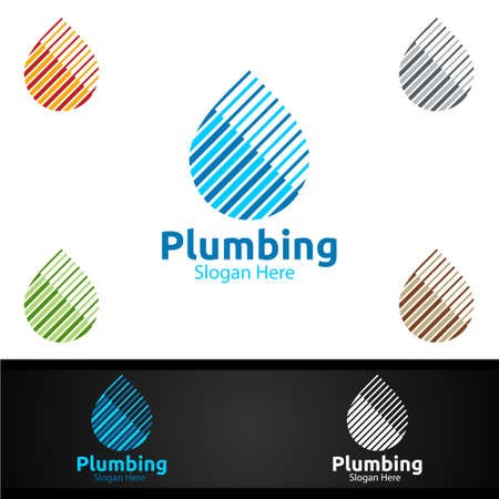 Plumbing Logo with Water and Fix Home Concept Design