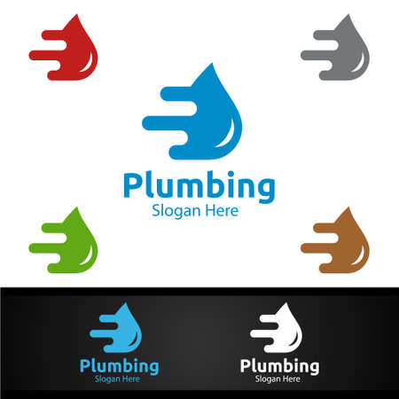Fast Plumbing Logo with Water and Fix Home Concept Design