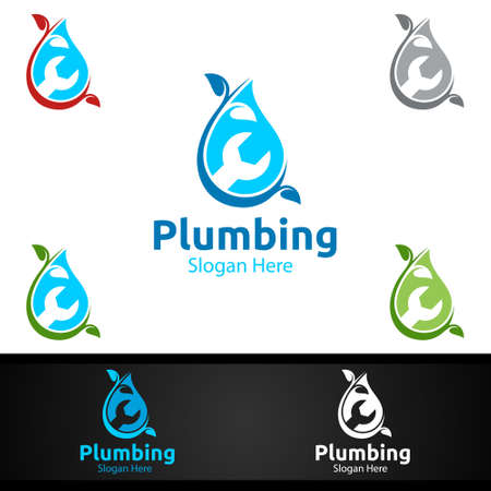 Eco Plumbing Logo with Water and Fix Home Concept Design