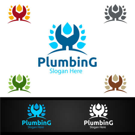 Wrench Plumbing Logo with Water and Fix Home Concept Design