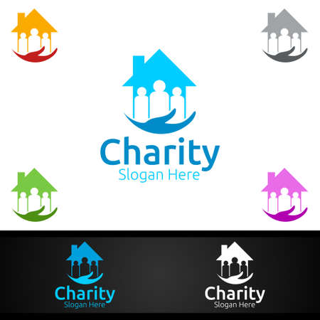 Home Helping Hand Charity Foundation Creative Logo for Voluntary Church or Charity Donation Design