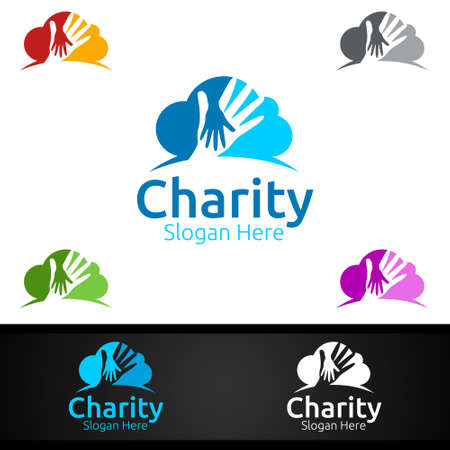 Cloud Helping Hand Charity Foundation Creative Logo for Voluntary Church or Charity Donation Design