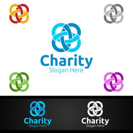 Infinity Helping Hand Charity Foundation Creative Logo for Voluntary Church or Charity Donation Design Иллюстрация