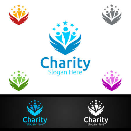 Wing Helping Hand Charity Foundation Creative Logo for Voluntary Church or Charity Donation Design
