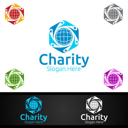 Global Helping Hand Charity Foundation Creative Logo for Voluntary Church or Charity Donation Design