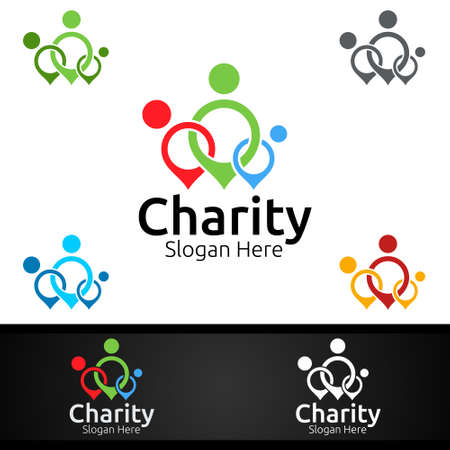 Helping Hand Charity Foundation Creative Logo for Voluntary Church or Charity Donation Design