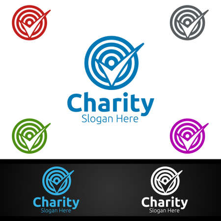 Target Helping Hand Charity Foundation Creative Logo for Voluntary Church or Charity Donation Design