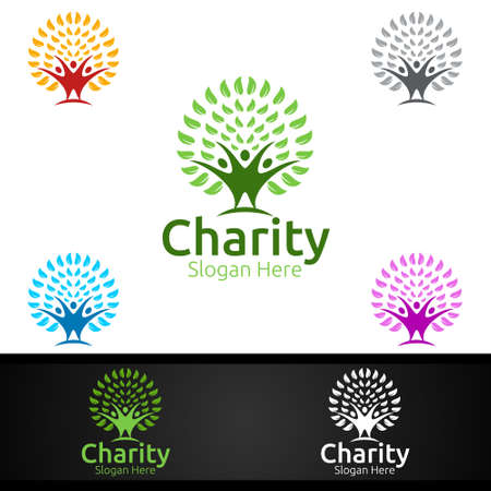 Natural Helping Hand Charity Foundation Creative Logo for Voluntary Church or Charity Donation Design