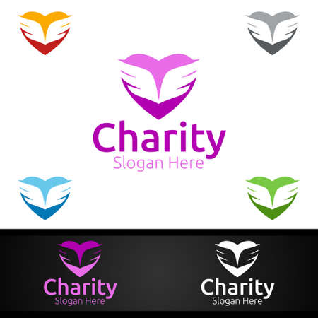 Angel Helping Hand Charity Foundation Creative Logo for Voluntary Church or Charity Donation Design