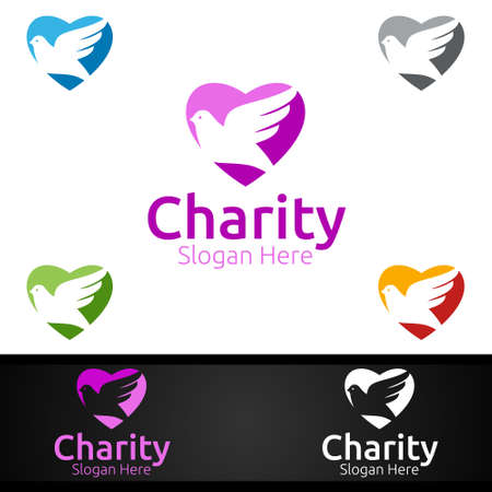 Dove Helping Hand Charity Foundation Creative Logo for Voluntary Church or Charity Donation Design