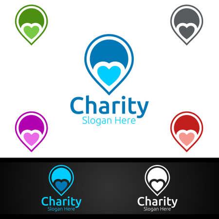 Pin Helping Hand Charity Foundation Creative Logo for Voluntary Church or Charity Donation Design Иллюстрация