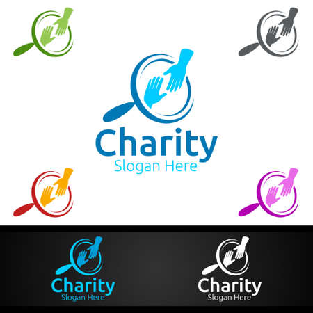 Find Helping Hand Charity Foundation Creative Logo for Voluntary Church or Charity Donation Design Иллюстрация