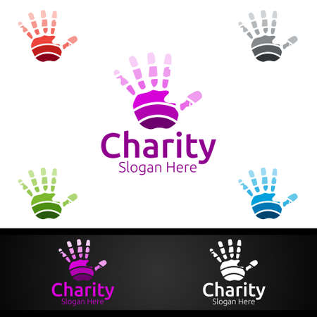Helping Hand Charity Foundation Creative Logo for Voluntary Church or Charity Donation Design Logo