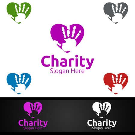 Helping Hand Charity Foundation Creative Logo for Voluntary Church or Charity Donation Design Иллюстрация