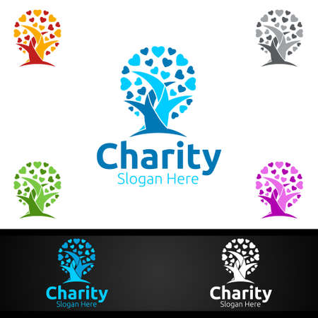 Tree Helping Hand Charity Foundation Creative Logo for Voluntary Church or Charity Donation Design