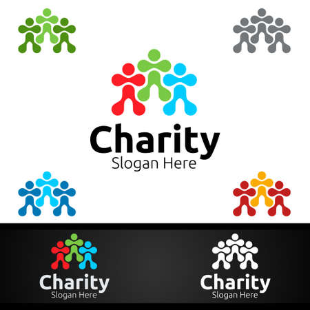Human Helping Hand Charity Foundation Creative Logo for Voluntary Church or Charity Donation Design