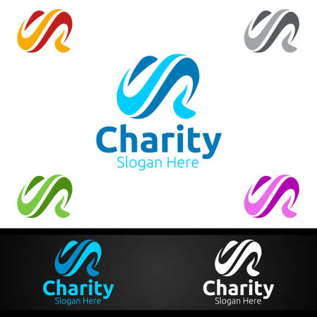 Letter C Helping Hand Charity Foundation Creative Logo for Voluntary Church or Charity Donation Design Иллюстрация