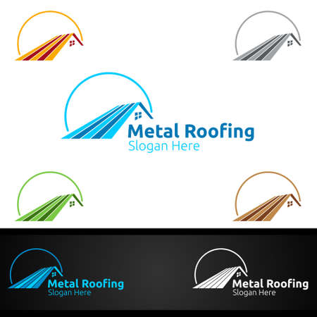 Metal Roofing Logo for Shingles Roof Real Estate or Handyman Architecture Design Иллюстрация