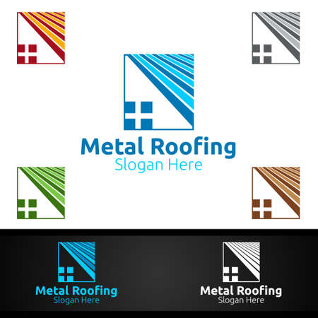 Metal Roofing Logo for Shingles Roof Real Estate or Handyman Architecture Design