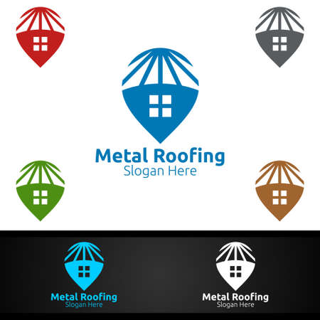 Pin Metal Roofing Logo for Shingles Roof Real Estate or Handyman Architecture Design