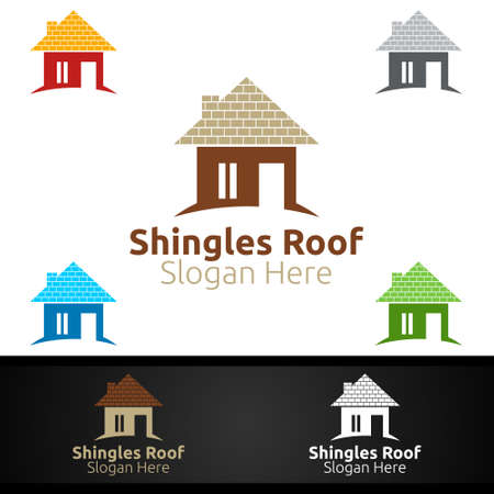 Shingles Roofing Logo for Property Roof Real Estate or Handyman Architecture Design