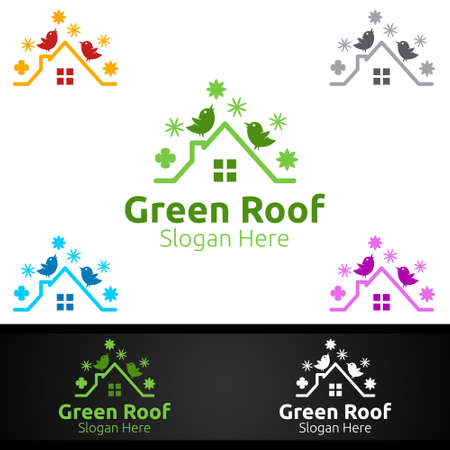 Green Roofing Logo for Property Roof Real Estate or Handyman Architecture Design Ilustrace