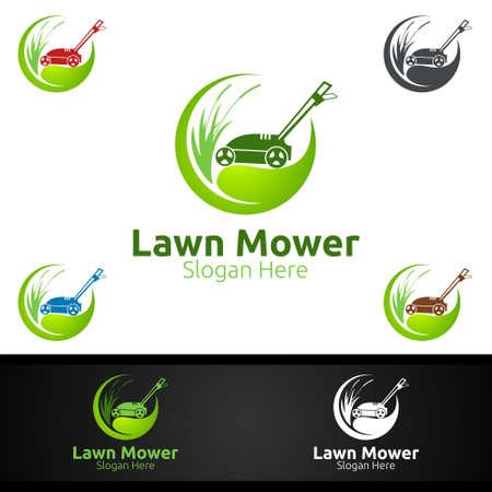 Lawn Mower Logo for Lawn Mowing Gardener Vector Design Logo