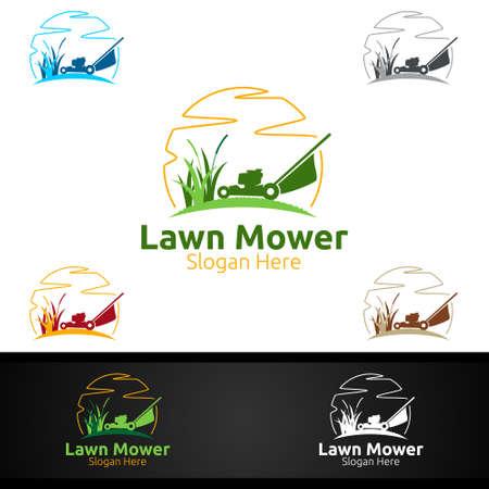 Lawn Mower Logo for Lawn Mowing Gardener Vector Design