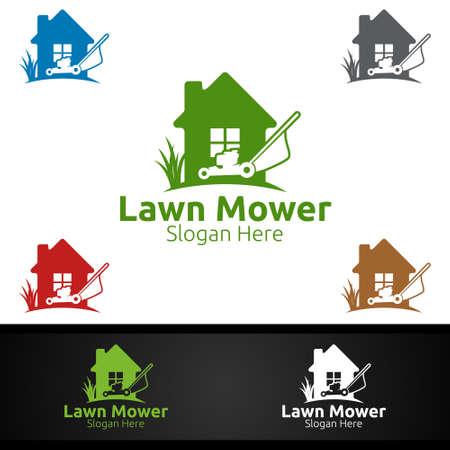 Home Lawn Mower Logo for Lawn Mowing Gardener Vector Design Logo