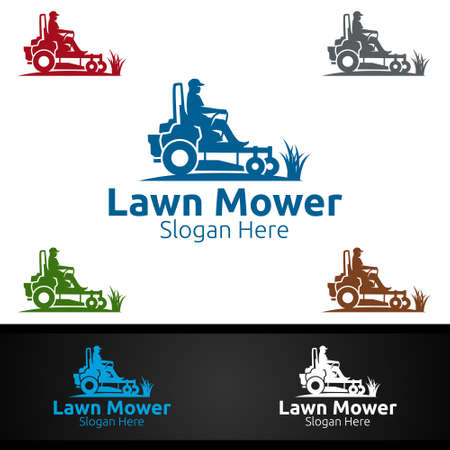 Lawn Mower Logo for Lawn Mowing Gardener Vector Design