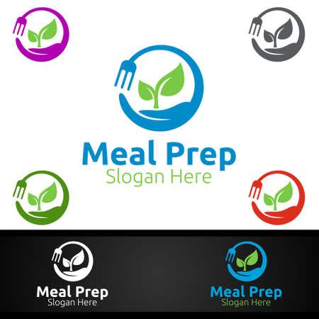 Meal Prep Healthy Food  for Restaurant, Cafe or Online Catering Delivery Design Ilustrace