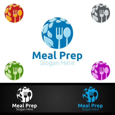 Meal Prep Healthy Food  for Restaurant, Cafe or Online Catering Delivery Design  イラスト・ベクター素材