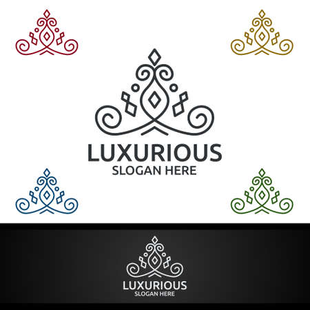 Crown Luxurious Royal Logo for Jewelry, Wedding, Hotel or Fashion Design Ilustracja