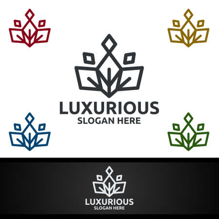 Crown Luxurious Royal Logo for Jewelry, Wedding, Hotel or Fashion Design