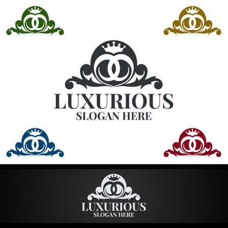 Modern Luxurious Royal Logo for Jewelry, Wedding, Hotel or Fashion Design