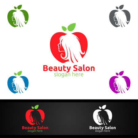 Apple Salon Fashion Logo for Beauty Hairstylist, Cosmetics, or Boutique Design