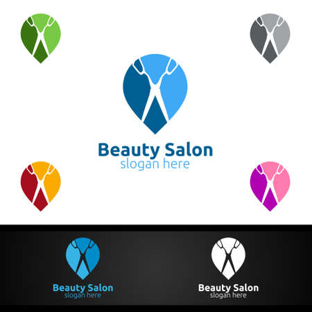 Pin Salon Fashion Logo for Beauty Hairstylist, Cosmetics, or Boutique Design