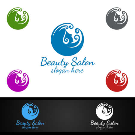 Salon Fashion Logo for Beauty Hairstylist, Cosmetics, or Boutique Design Ilustracja
