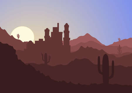 Desert Landscape with Cactus, Hills and Mountains Silhouettes. Vector Nature Horizontal Background Design