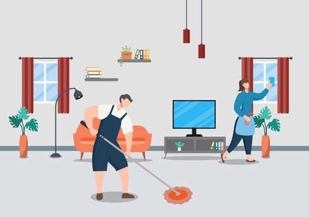 Cleaning Service Concept. Vector Flat Design Cartoon Illustration Template Vecteurs