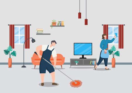 Cleaning Service Concept. Vector Flat Design Cartoon Illustration Template Ilustração Vetorial