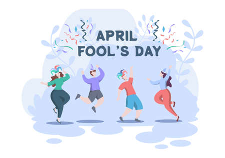 Celebration Happy April Fools' Day wearing a Jester Hat background design concept. Vector Illustration.